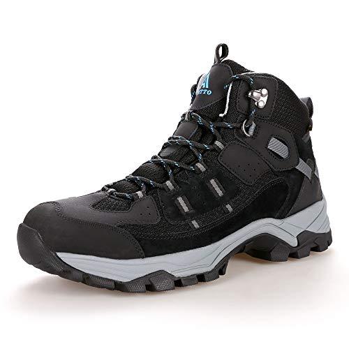 Men's Lightweight Water Repellent Leather Hiking Boots Outdoor Walking Shoe black size 10.6