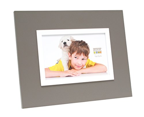 Deknudt Frames S67JK9-13.0X18.0 Bilderrahmen, erhabener Innenrahmen, 27,5 x 22,5 x 1 cm, Grau/Weiß