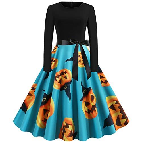 Calvinbi Damen Kleider Schwarz Vintage Elegante Kleid mit Schleifen Kürbis Knielang Langarm Faltenrock Abendkleider Ballkleid Swing Kleid Große...