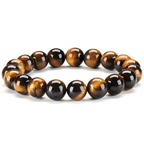 SAIBANGZI Bracelet en Pierre Naturelle Oeil de Tigre 10mm Fait Main Gemstone Yoga Perlé Guérison Énergie Bracelet pour Hommes et Femmes