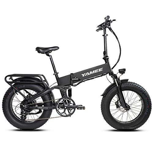 Yamee Fat Bear Ebike 20'' Snow Electric Bicycle Folding 48V 11.6AH Lithium Battery 500W for e-Bike with I-PAS Power System Adult Bike (500W-Black1)