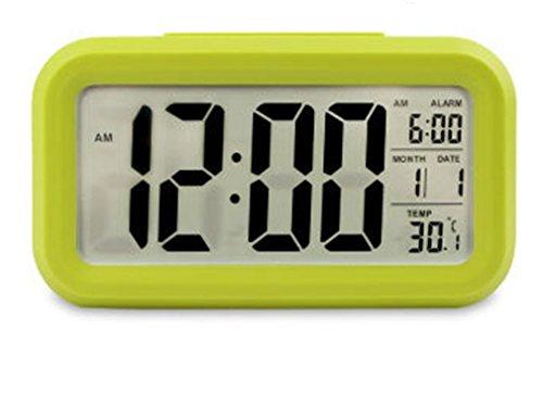 Alarma Reloj, TKSTAR despertador inteligente, Gran Pantalla Digital, función luminosa electrónica photosensible, con la temperatura y el calendario electrónico luminoso,verde, 1 pack