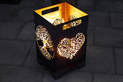 teileplus24 FT01 Feuertonne Feuerschale Feuerkorb Groß Eckig Steckbar Leichte Reinigung, Design:Herz 50cm