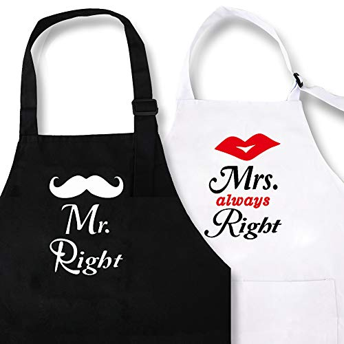 KMCH Mr and Mrs Couples Kitchen Apron Mr. Right and Mrs. Always Right Funny Wedding Newlywed Aprons Kitchen Cooking Bibs Gifts His and Hers Sets (2pieces)