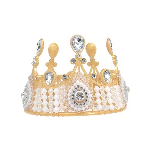 PRETYZOOM Strass Kroon Kristal Tiara Parel Kroon Taart Topper Headdress Haar Hoop voor Bruiloft Verjaardag Party Bruid Bruidsbenodigdheden (Pattern 2) 14.5*11*11cm Patroon 7