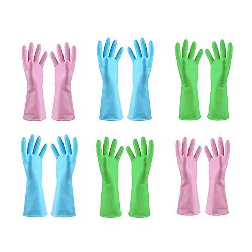TopBine 6 Paar Gummihandschuhe, Gummi Reinigungshandschuhe, Haushalt Küche Reinigung Wasserdichte Handschuhe, Gartenhandschuhe, Wiederverwendbare Handschuhe (6M)