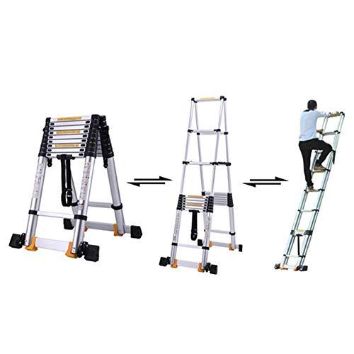ALYR Aluminio Escalera Telescópica, Telescópica Escalera Extensible Multiusos Escaleras de Mano Capacidad de Carga 150kg / 330lb para Home Office Loft,3.4m/11.2ft