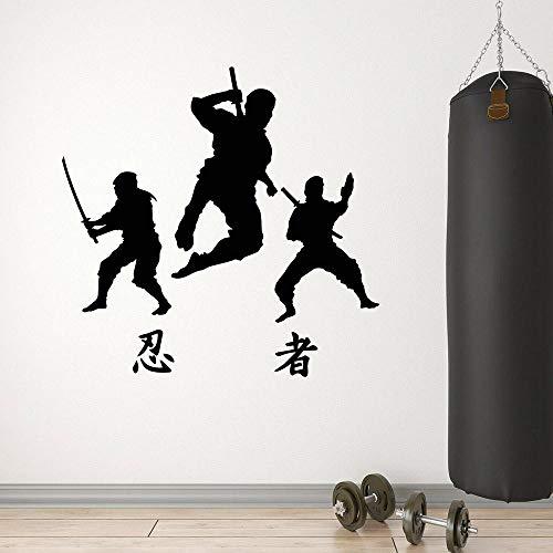 KDSMFA - Adhesivo decorativo para pared con diseño de ninja y jeroglífico de lucha para artes marciales, vinilo para decoración del hogar, gimnasio, aula, 58 x 57 cm