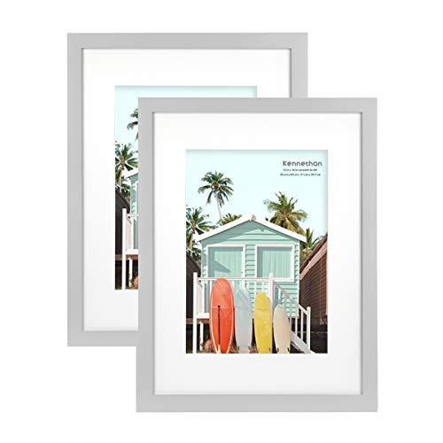 Kennethan Marco de fotos de madera 100% auténtica, gris, 30 x 40...
