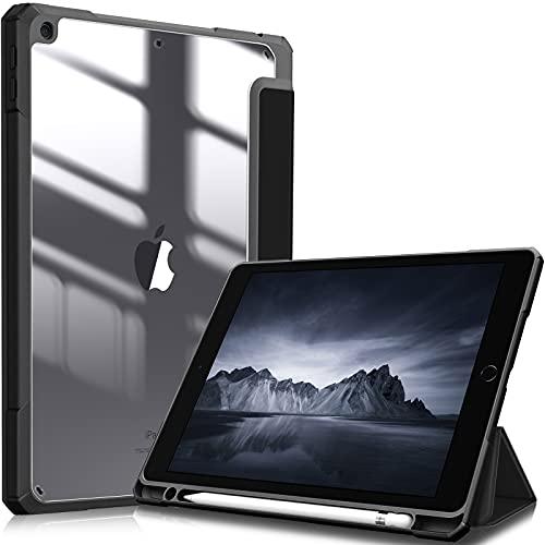Fintie Hybrid Hülle für 10.2 Zoll iPad 9. Generation 2021/8. Gen 2020/7. Gen 2019 - [Eingebauter Stifthalter] Stoßfeste Abdeckung mit Transparent Klar Hartschalen Rückseite Schutzhülle, Schwarz