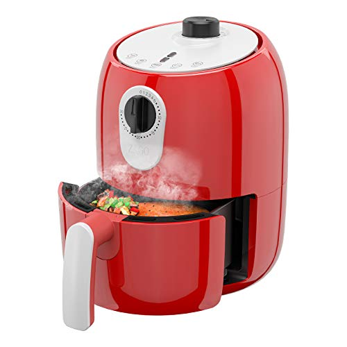 ZAGO 2 Quart Electric Small Air Fryer, Mini Air Fryer Oven Cooker, Non-stick Food Basket with Oil Separator, Timer&Temperature Control, Auto Shut Off&Cool Touch, UL Certified, 120V, 1000W, Red