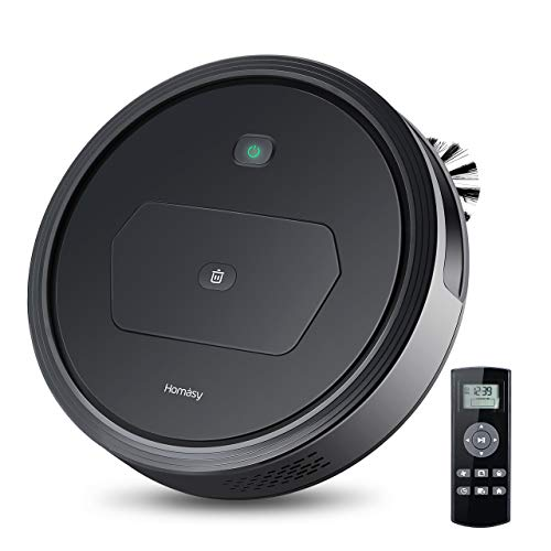 Homasy Robot Vacuum Cleaner with 1500PA Powerful Suction, Super Quiet Design and Remote Control, Self-Charging Robotic Vacuum Cleaner with HEPA Filter, 2 Side Brushes and 4 Specialized Cleaning Modes Dining Features Kitchen Robotic Vacuums