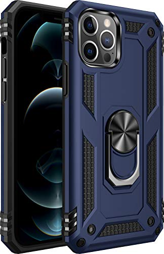 Amuoc Compatible with iPhone 12 Case,Compatible with iPhone 12 Pro Case[ Military Grade] 15ft. Drop Tested Protective Case Kickstand 6.1 Inch 2020-Blue