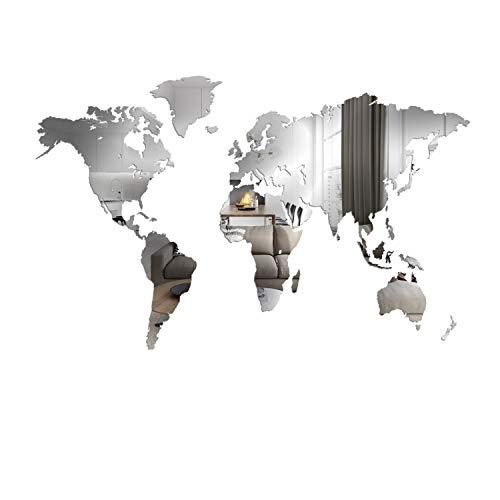 Giallobus - Mappa del Mondo - Decorazione da Parete A Specchio - 190X105 CM