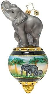 Christopher Radko Hand-Crafted European Glass Christmas Decorative Figural Ornament, Triumphant Elephant