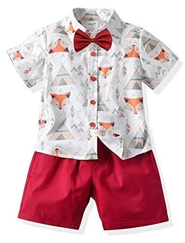 Happy Cherry - Traje Conjuntos de Bebé Niño para Boda Fiesta Ceremonia Verano Ropa de Bautizo Niños Infantil Algodón para Primera Comunión Caballeros Pantalones Cortos Corbata Camisa - 2-3 Años