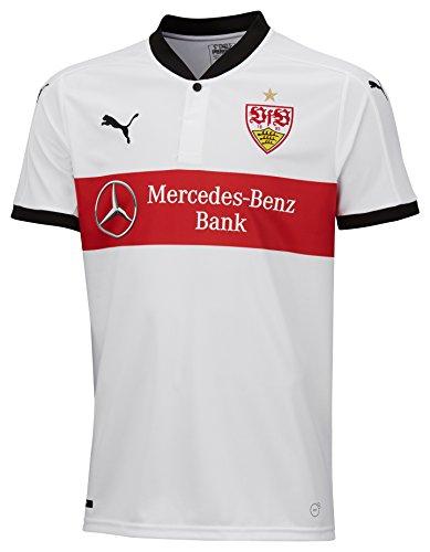 PUMA Erwachsene VfB Home Replica Shirt w.Sponsor White Black, S