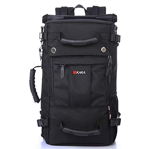 kaka Travel Backpack Laptop Backpack Waterproof Hiking Backpack Anti-Theft Bag for Men and Women College Students Black Daypack (15.6inch)
