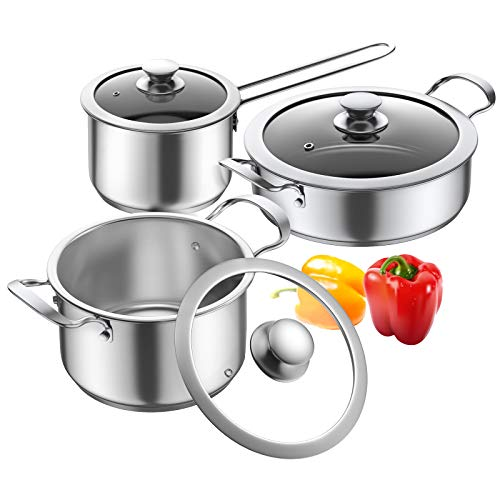 Cookware Set, Elegant Life 6 Pieces Sauce pan Set with Lids, Non Stick Stainless Steel Stockpot, Induction Safe with Gift Box, 16/18/24cm