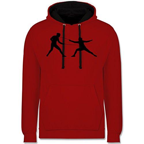 Shirtracer Kampfsport - Fechten - L - Rot/Schwarz - JH003_Hoodie_Unisex - JH003 - Hoodie zweifarbig und Kapuzenpullover für Herren und Damen