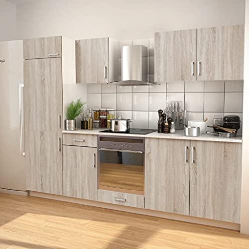MUSEVANE 7-TLG. Küchenzeile Set mit Dunstabzugshaube Eiche-Optik