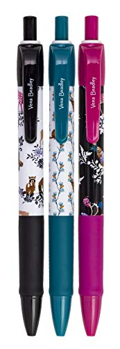Vera Bradley Holiday Black Ink Click Pen Set of 3 with Storage Pouch, Winter 20 Medley