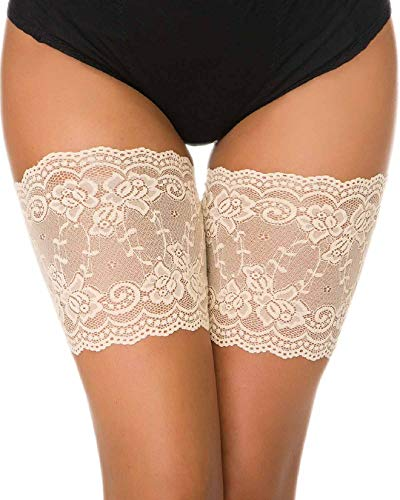 Voqeen Oberschenkelbänder Elastische Damen Oberschenkelband Sexy Lace Schenkel Band Socken Strumpfband Thigh Bands Oberschenkel Bandage Anti-chafing Anti-rutsch Silikon Bänder