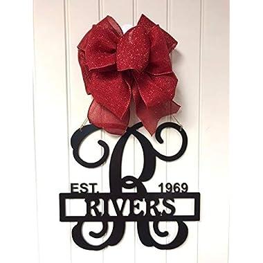 Front Door Initial Monogram, Personalized Door Hanger