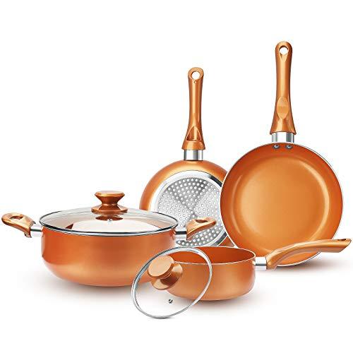 FRUITEAM 6-piece Nonstick Kitchen Cookware Set, Ceramic Coating Cooking Pot and Pans Set, Stock Pot/Milk Pot/Frying Pans Set, Copper Aluminum Pan with Lid, Induction/Gas Kitchenware Set