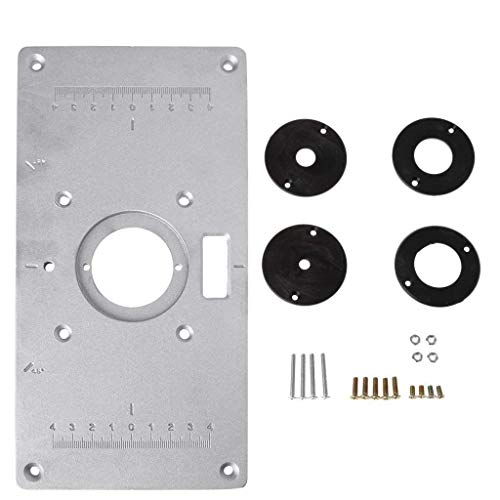 New Vaorwne Aluminum Router Table Insert Plate w/4 Rings Screws for Woodworking Benches