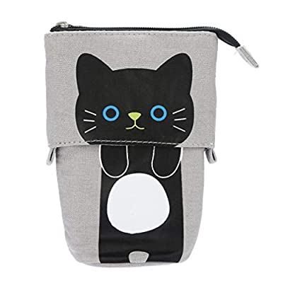 sunnymi Fashion Student Stationery Bag Cartoon Cute Cat Telescopic Purse Pencil Case Portable Stationery Box (D)