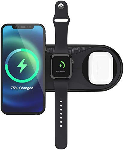 UUTO Wireless Charger, 3 in 1 Qi-Certified Fast Wireless Charging Pad for iPhone 12/11/11 Pro/11 Pro Max/X/XS/XR/XS Max/8/8 Plus/SE 2/Samsung Phone, AirPods 2/Pro, iWatch