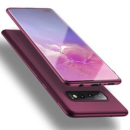 X-level Cover Galaxy S10 Plus, [Guardian Series] Ultra Sottile Morbido TPU Slim Protezione Posteriore Antiscivolo e AntiGraffio Custodia per Samsung Galaxy S10+, Vino Rosso