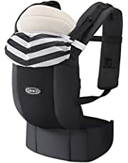 Graco(グレコ) 新生児から使える抱っこ紐 ルーポップゼロ Roopop ZERO (おくるみインサート付き、やわらかメッシュ、疲れにくい腰ベルト) モノトーンボーダーBK 1個 (x 1) 67550