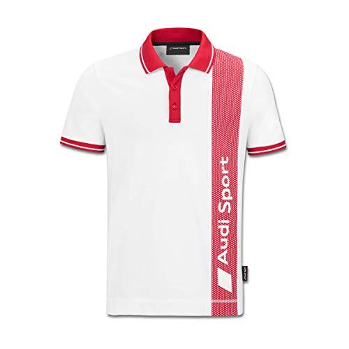 Audi Sport Polo para Hombre, Color Blanco/Rojo: Amazon.es: Coche y ...