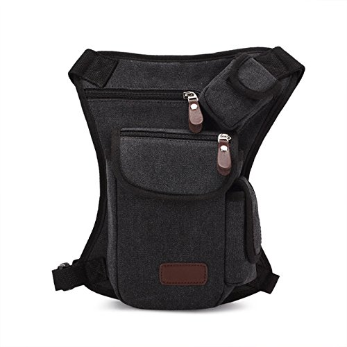 TLOOWY Multi-Purpose Canvas Racing Drop Leg Bag Motorcycle Outdoor Bike Cycling Thigh Tactical Bag Waist Bag for Men Women (Black, Free Size)