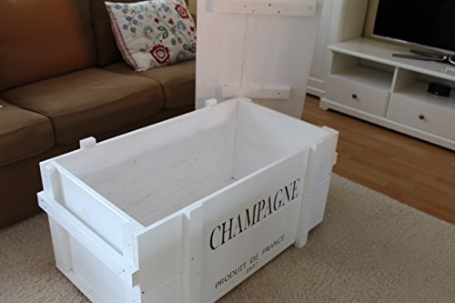 Uncle Joe´s Truhe Holzkiste Champagne, 85 x 45 x 46 cm, Holz, Weiss, Vintage, Shabby chic Couchtisch, 85x45x46 cm - 5