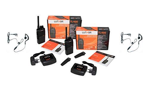 Luthor TL446-PROMT-X2 Pack de Dos Walkies Compatible en Frecuencias con Motorola, XT-220- XT-420-XT460 + pinganillo PIN19M