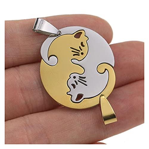 Base Anillos 1 unids acero inoxidable lindo encantador gato encanto collar amante novia regalo juego...