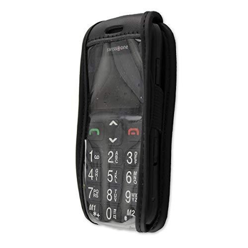 caseroxx Ledertasche mit Gürtelclip für Swisstone BBM 320C aus Echtleder, Handyhülle für Gürtel (mit Sichtfenster aus schmutzabweisender Klarsichtfolie in schwarz)