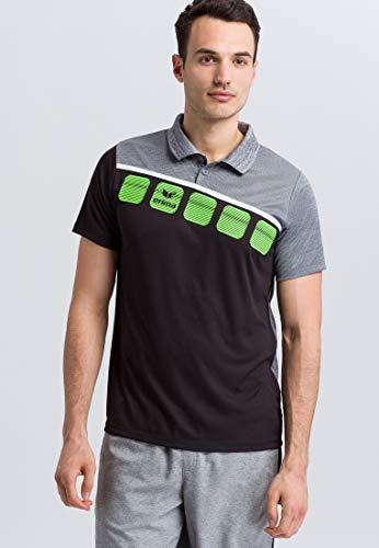ERIMA Herren Poloshirt 5-C Poloshirt, schwarz/grau melange/weiß, XXL, 1111904