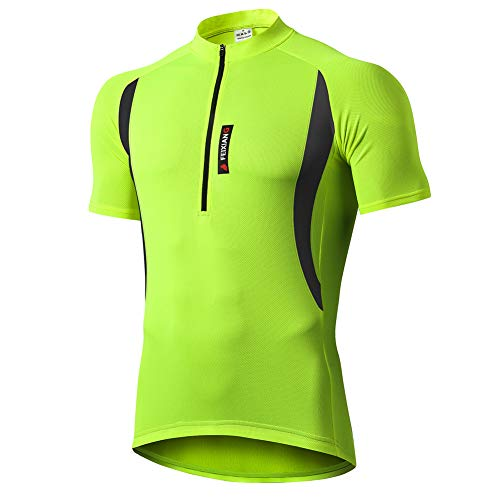 FEIXIANG Cycling Jersey for Men, Cool Dry Bike Riding Top Shirt Road Bicycle MTB Sports Short Sleeve with Pockets Zipper Green