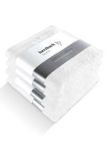 herzbach home Handtuch 4er-Set Premium Qualität aus 100{3babdef8dece9a281bb3135d1aa08233cd5c051fdb54ee69fb6d3e1ef00b980e} Baumwolle 50x100 cm extra weich (weiß)