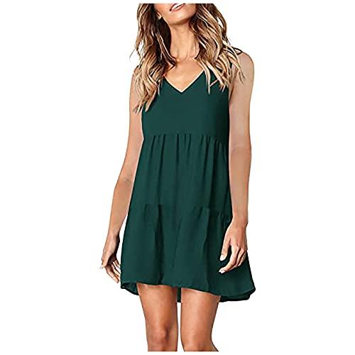 Dresses for Women, SHOBDW Fashion Ladies Solid V-Neck Lantern Long Sleeve Sleeveless Flowy Swing Shift Female Loose Dress Shirtdress Summer Casual Midi Dress(#2 Green,XL)