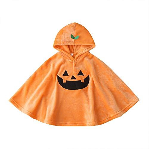 Mousmile Toddler Baby Halloween Pumpkin Fleece Poncho Costume for Boys Girls, Cute Warm Windproof Cloak Shawl Wrap (Orange, 3-4 Years)