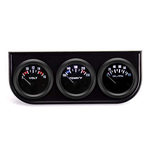 Estéreo de coches Universal 12V 52mm 3 en 1 Voltímetro de calibre digital para medidor de voltio Medidor de aceite de temperatura del agua Kit de medidor de triple Proporcionarle una experiencia de co
