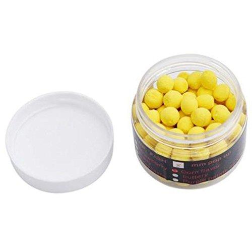 Senmubery 1 Box Riechen up Fischkoeder Boilies Schwimmende Karpfen Koeder Loeslich in Wasser Gelb-Mais 14mm