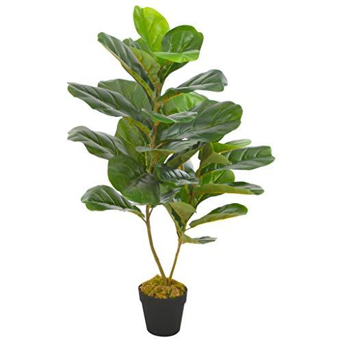 vidaXL Planta Artificial Decoración Ficus Maceta Flores Decorativas Realistas Exterior Interior Oficina Hojas Grandes Plástico 90 cm Alta Verde