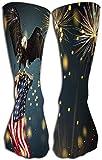 Sport Medias altas Calcetines largos de compresión atlética para mujeres y niñas 19.7'(50 cm) águila calva americana símbolo de vuelo bandera de américa patricia de estados unidos