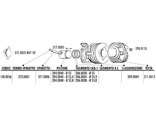 POLINI Joint de culasse 55 mm pour Ape 50, Vespa PK 50, Special 50, XL 50